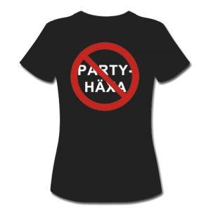 T-shirt dam-modell med ca 18 cm stor logga Förbudsskylt Partyhäxa baktill på ryggen.