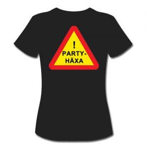 T-shirt dam-modell med ca 18 cm stor logga Varningsskylt Partyhäxa baktill på ryggen.