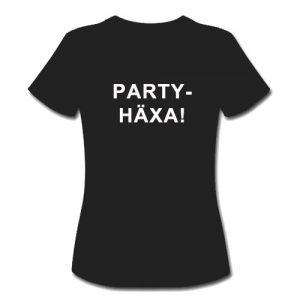 T-shirt dam-modell med ca 18 cm stor logga fram PARTYHÄXA!