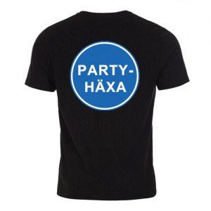 T-shirt herr-modell med ca 18 cm stor logga Påbudsskylt Partyhäxa baktill på ryggen.