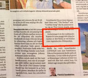 2019-07-01 Kapten Fri recenseras i Bohuslänningen efter spelning under festival i Ellösparken